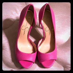 Pink Jessica Simpson open toed pumps
